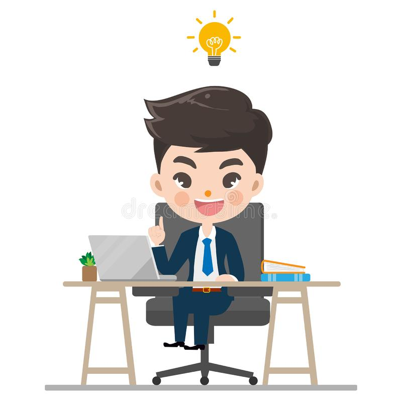 Businessman works and smile in the office. vector illustration