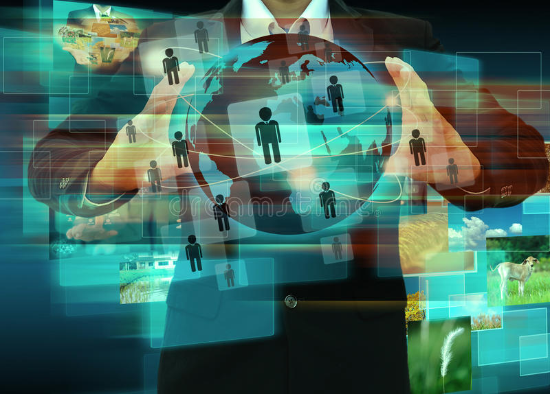 Download Businessman Works With Social Network Stock Image - Image of social, computer: 39512949