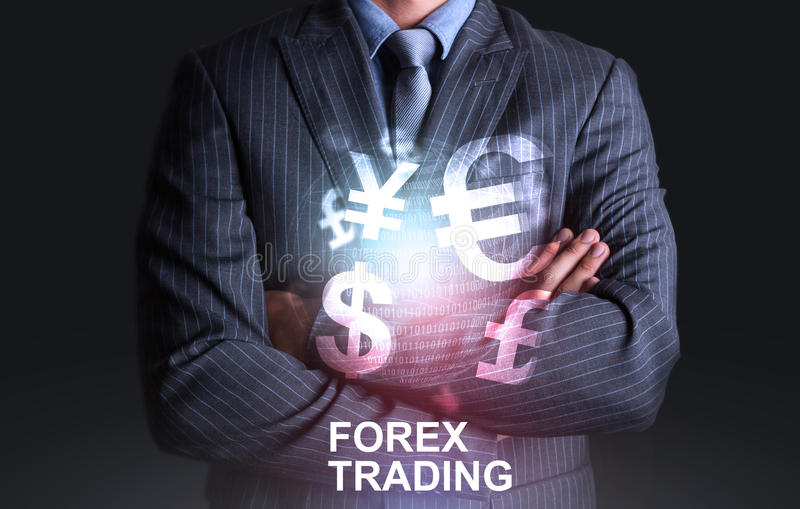 Businessman with world of currency forex trading. Such as Dollar stock images