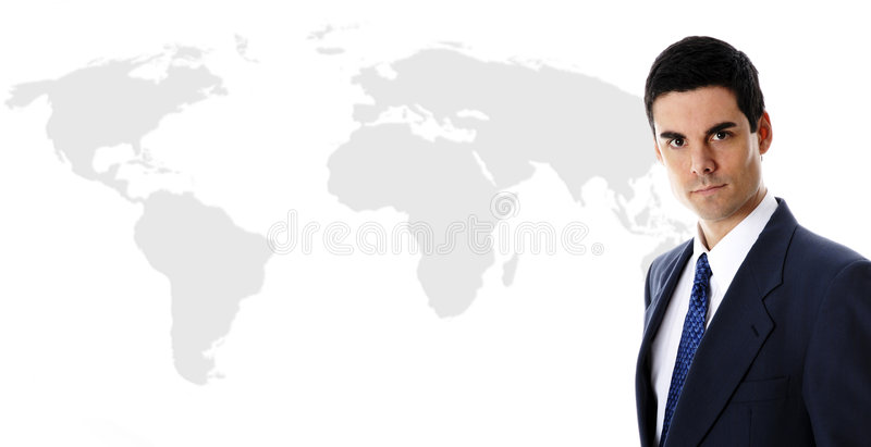 BUsinessman and world map royalty free stock photos