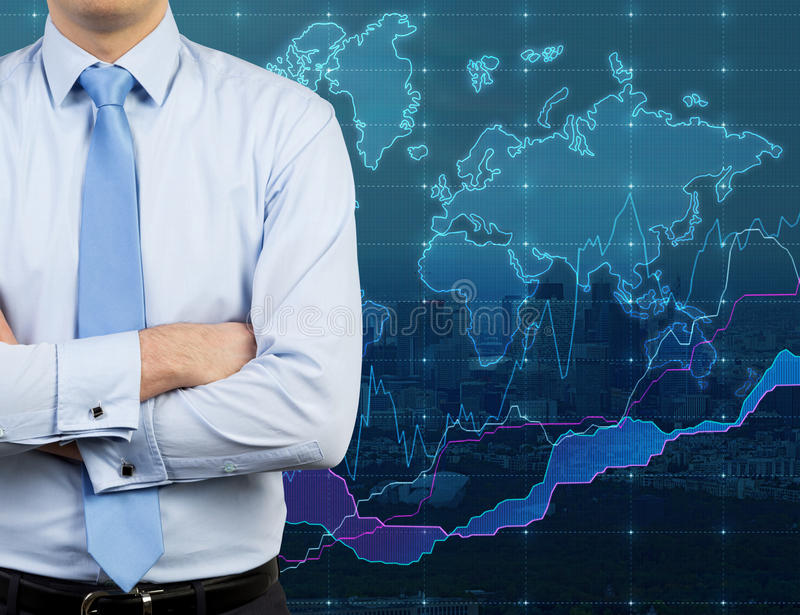 Businessman and world map. On virtual screen royalty free stock image