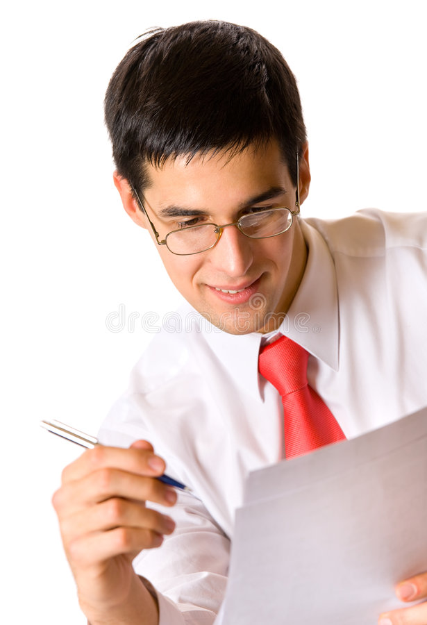 Businessman writing, isolated royalty free stock photography