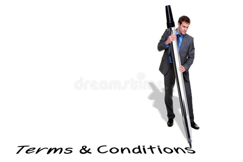 Businessman Writing Terms And Conditions With A Gi Stock Image