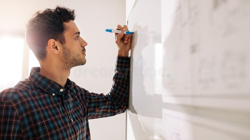 Businessman writing on whiteboard in office. Businessman writing on a whiteboard using a marker pen. Entrepreneur discussing business ideas and plans on a board royalty free stock images