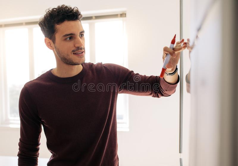Businessman writing on whiteboard in office royalty free stock image