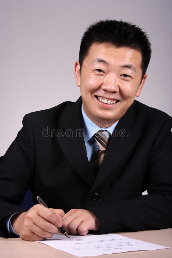 businessman writting 库存照片