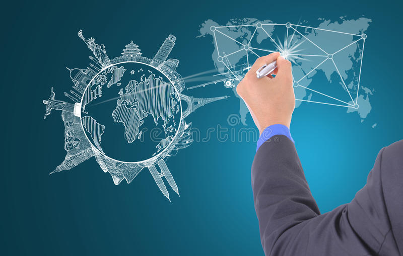 Businessman writting aircraft for travel royalty free stock photography