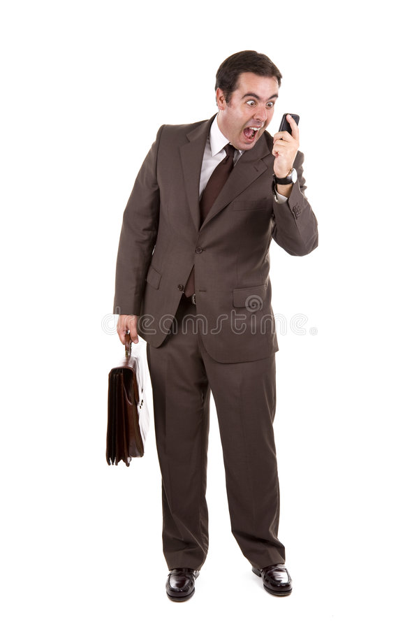 Businessman yelling loud on the phone stock photos
