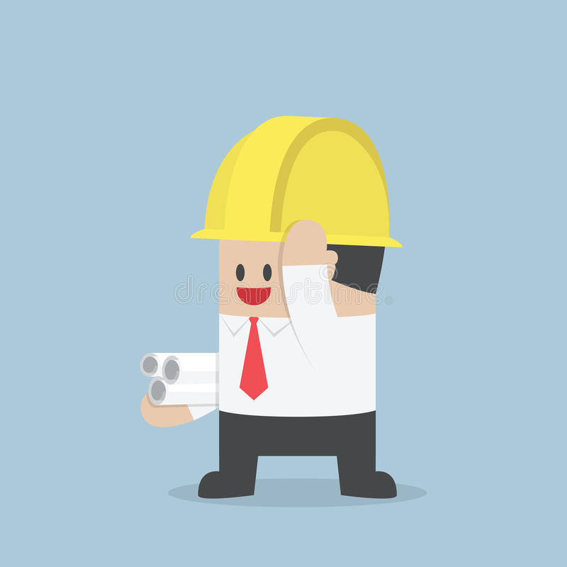 Businessman in yellow safety helmet with sheet rolls, Architect, vector illustration