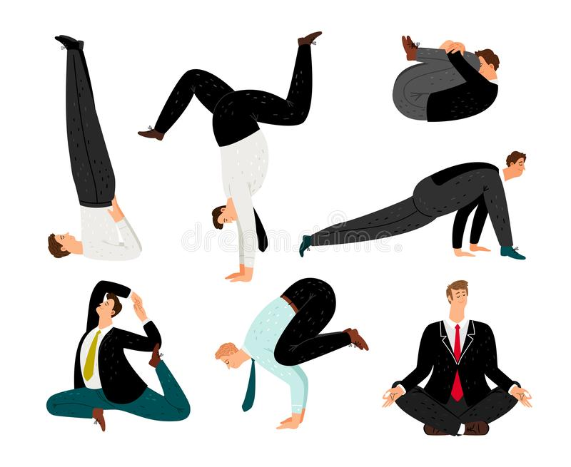 Businessman yoga. Suit meditation and zen relax business man poses, office exercising positions for human health stock illustration
