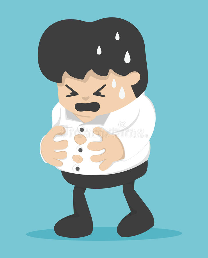 Businessman Young holds his heavy belly, Heavy belly, Eat too mu stock illustration