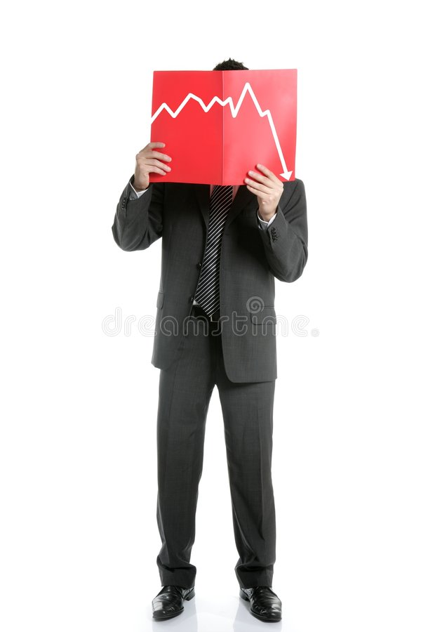 Businessman Young Negative Chart, Full Length Royalty Free Stock Photos