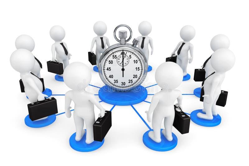 businessmans de la persona 3d alrededor del cronómetro ilustración del vector
