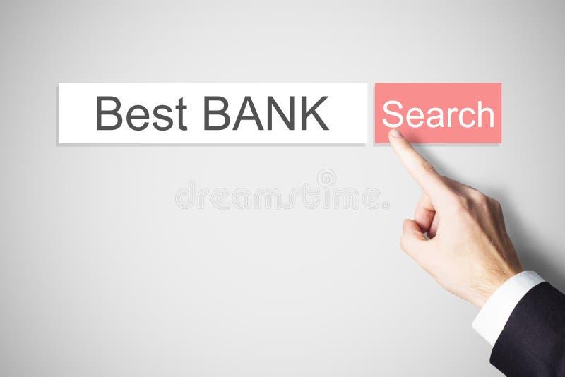 Businessmans-Finger, der beste Bank des web- browsersuchknopfes drückt stockfotos