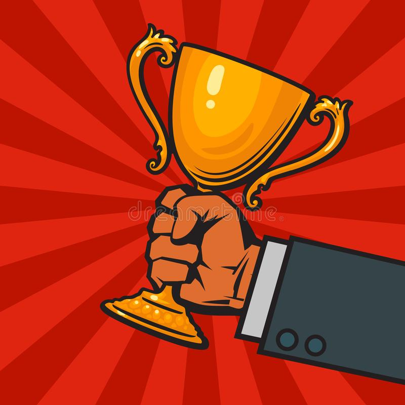 Businessmans-Hand, die Siegergoldcup, Trophäe, Preis hält Konzept von Sieg-, Erfolgs- und Geschäftsleistungen Hand lizenzfreie abbildung