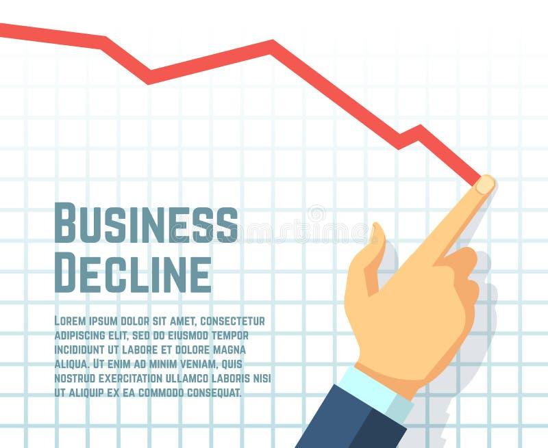 Businessmans hand drawing decrease graph. Profit decline and downward sales business vector concept vector illustration