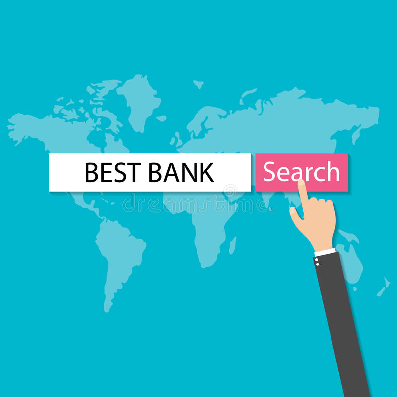 Businessmans hand pressing internet browser red search button best bank, vector royalty free illustration