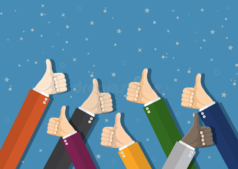 Businessmans hands hold thumbs up. royalty free illustration