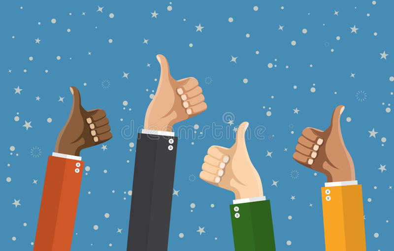 Businessmans hands hold thumbs up. stock illustration