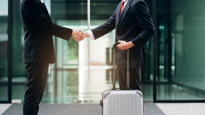 Businessmans handshake after good deal. Businessmans handshake. Successful businessmen handshaking after good deal. Business partnership meeting concept stock photos