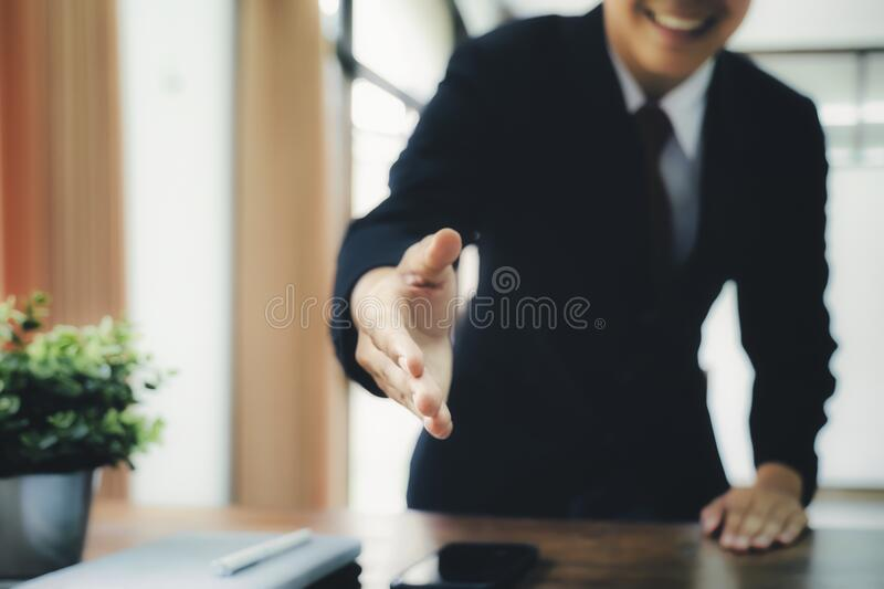 Businessmans handshake after good deal. Businessmans handshake. Successful businessmen handshaking after good deal. Business partnership meeting concept royalty free stock photos