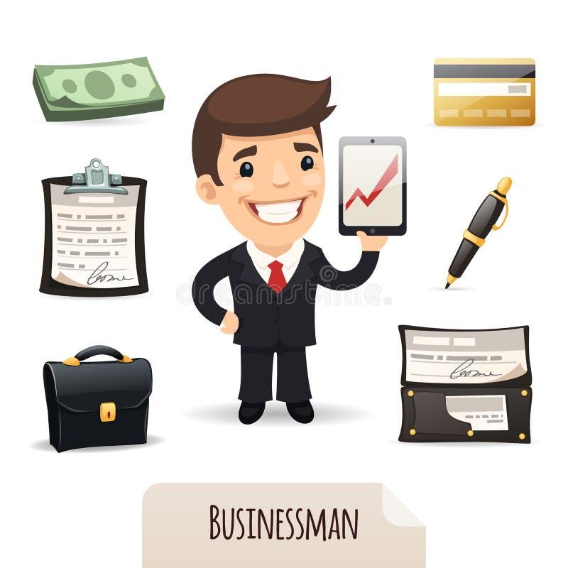 Businessmans ikony ustawiać ilustracji