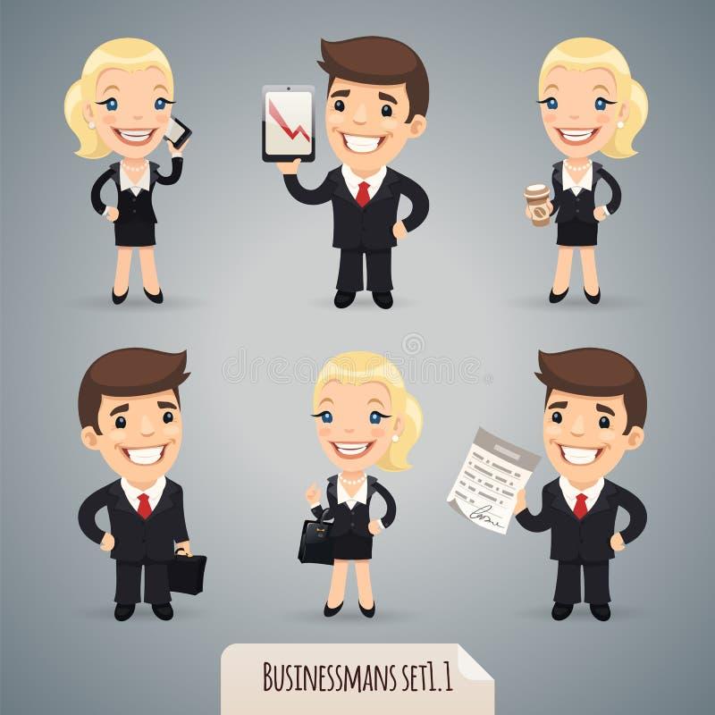 Businessmans postać z kreskówki Set1.1 royalty ilustracja