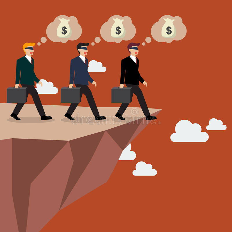 Businessmans walk straight into the abyss. Vector Illustration stock illustration