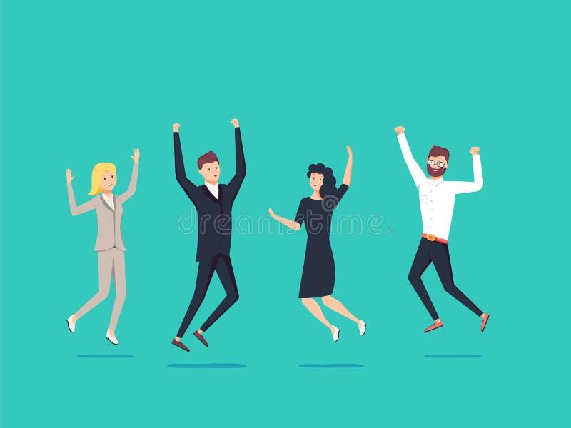 Businessmans y la mujer saltan con felicidad juntos Celebración de la victoria del negocio ilustración del vector
