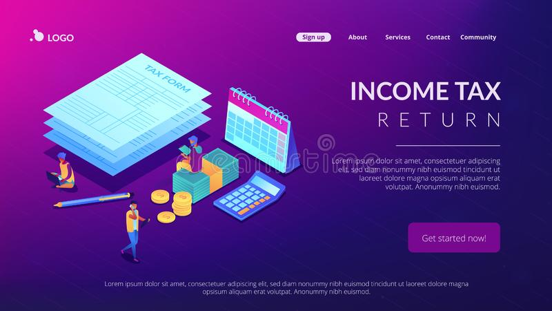 Tax form isometric 3D landing page. Businessmen and accountant filling and calculating financial document form. Tax form, income tax return, company tax payment vector illustration