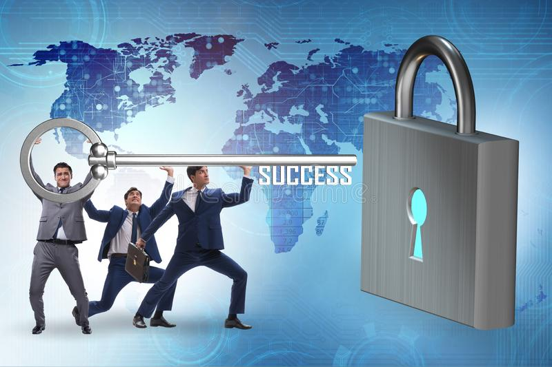 Businessmen achieving success through teamwork. The businessmen achieving success through teamwork royalty free stock photography