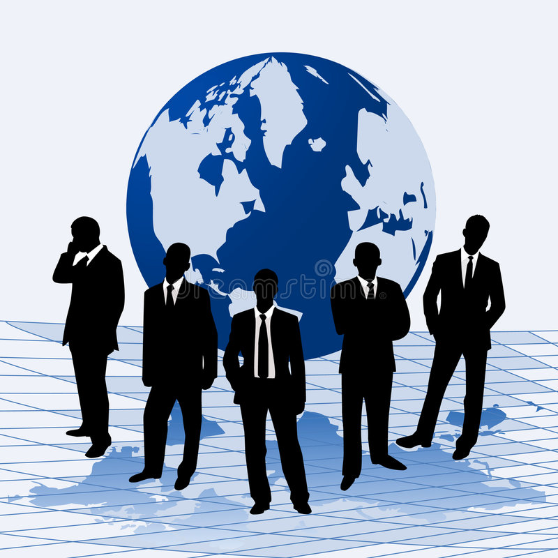 Download Businessmen Against A Map Of World Stock Vector - Image: 9194952