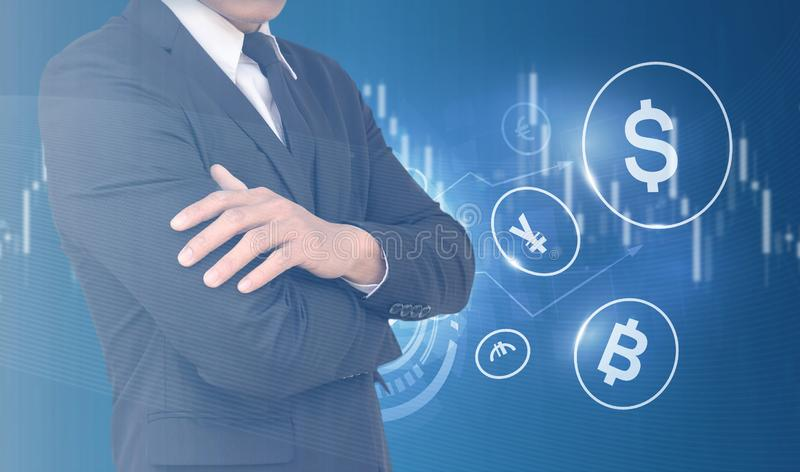 Businessmen are analyzing the stock chart. Concept of Men Trading Currency. Global Currency Trader Concept. Choosing US Dollars. Trading Decision royalty free stock photos