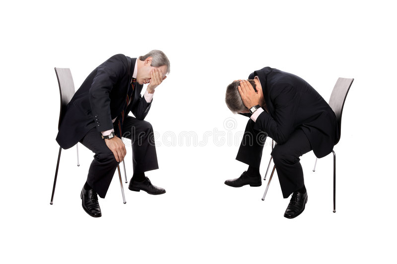 Businessmen bankrupt. Businessmen bankrupcy isolated on white - Recession Concept royalty free stock photo