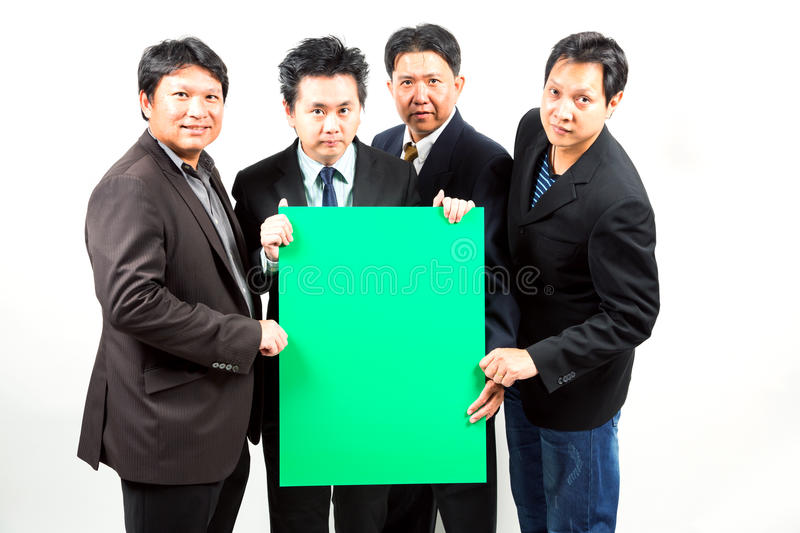 Businessmen with banner royalty free stock images
