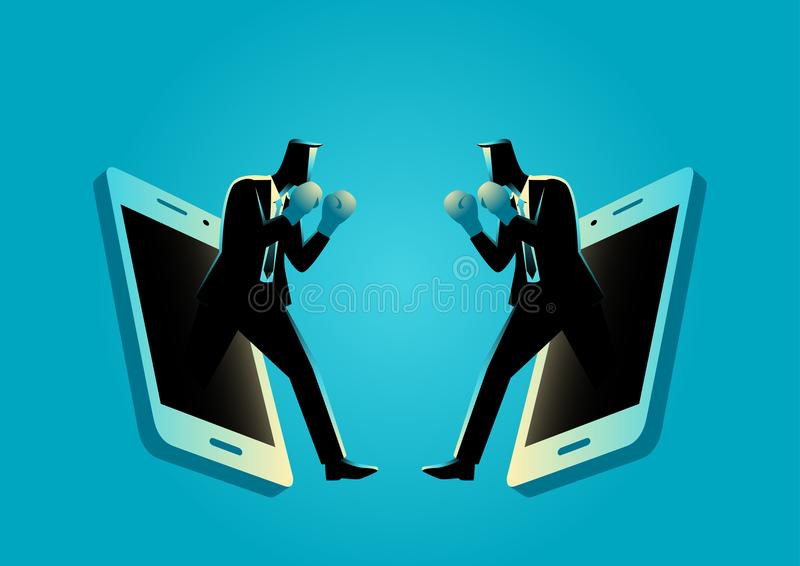 Businessmen with boxing gloves comes out from cellular phone vector illustration