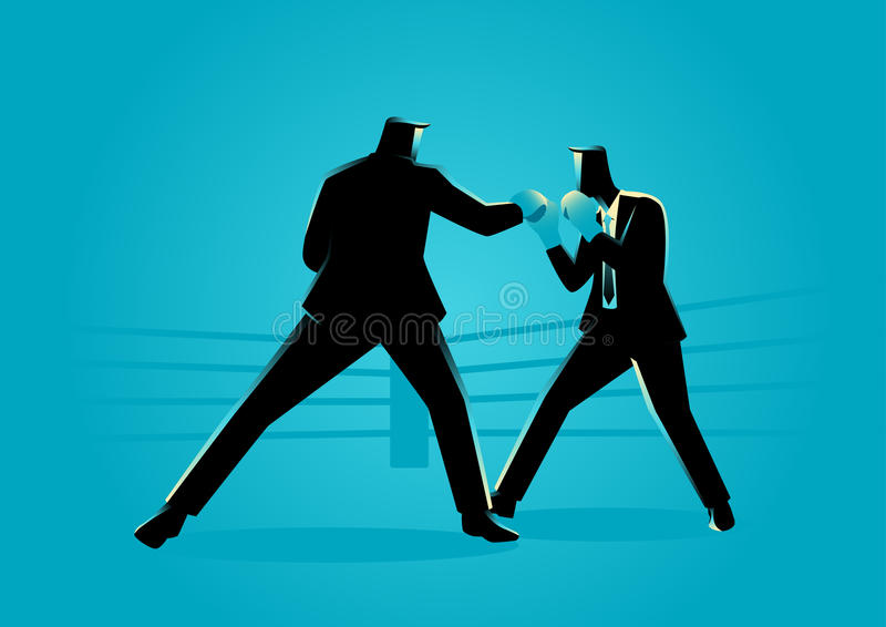 Businessmen in boxing ring fighting each other royalty free illustration