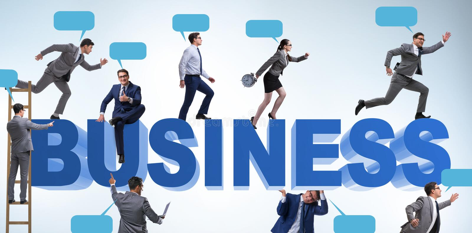 Businessmen in business concept with ladder and bubble callouts royalty free stock image