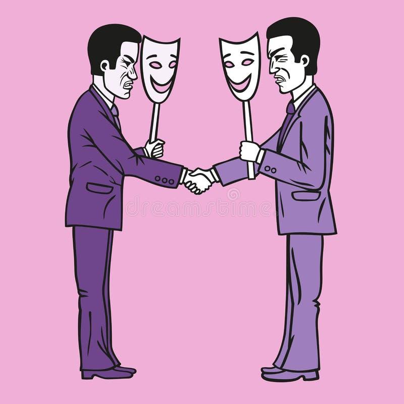 Businessmen. Business etiquette forbids show negative emotions stock illustration