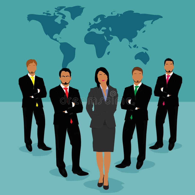 Businessmen and businesswoman standing in front of world map, vector, illustration royalty free illustration