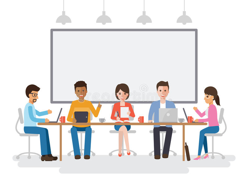 Businessmen and businesswomen meeting vector illustration