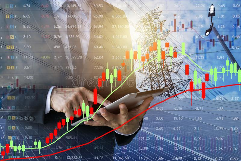 Businessmen calculate investment Marketing of energy. stock photos