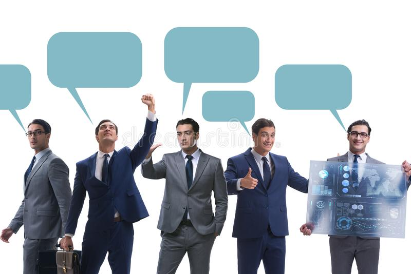 Businessmen with callout bubble blank message isolated on white royalty free stock photo