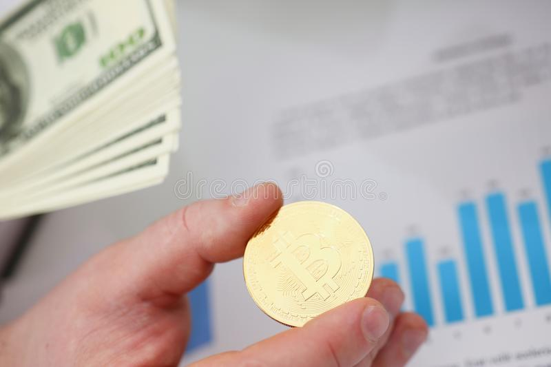 Businessmen change currency make successful deal hold money in arms. Wealth concept stock images