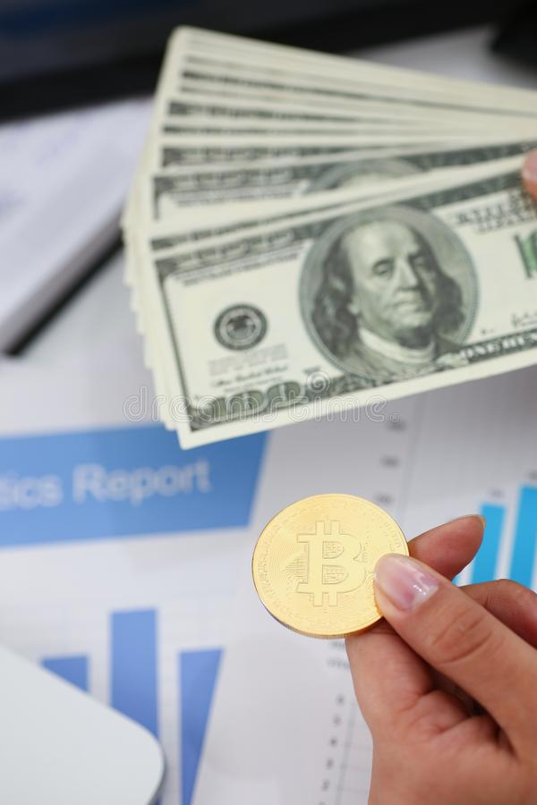 Businessmen change currency make successful deal hold money in arms. Wealth concept stock image