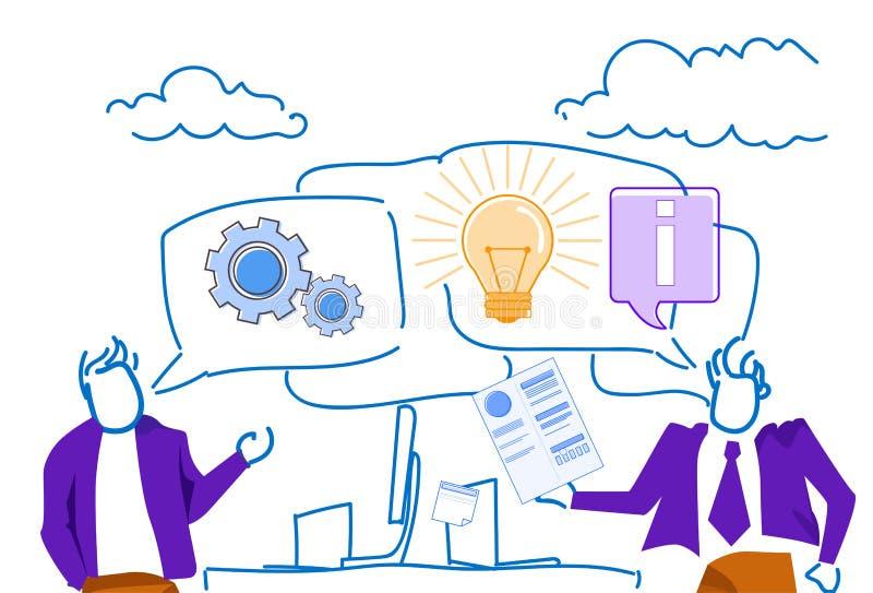 Businessmen chat bubble communication workplace brainstorming new idea innovation concept sketch doodle horizontal vector illustration