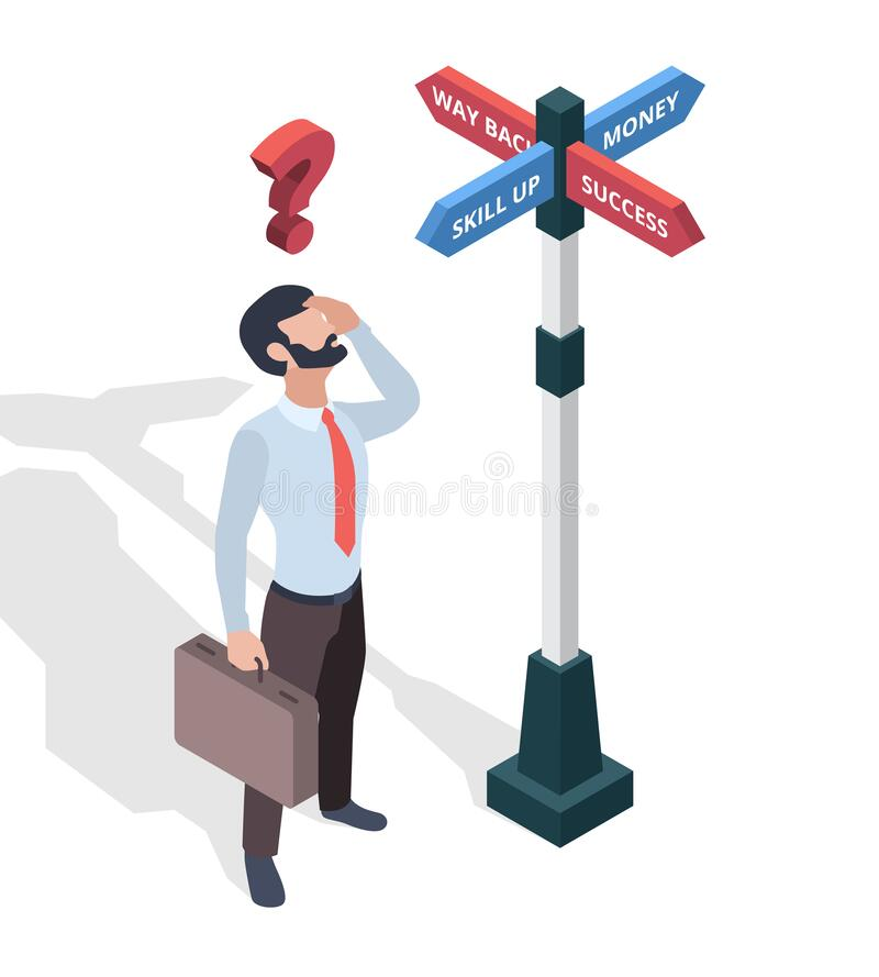 Free Businessmen Choosing Destination. Direction Arrows Pathway Man Looking On Signboards Vector Isometric Concept Stock Images - 200759564