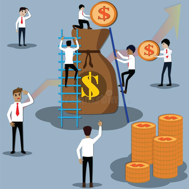 Businessmen are climbing bags of gold and filling down with golden coins, team work concepts - vector. Illustration..vector; wealth management ; finance stock illustration