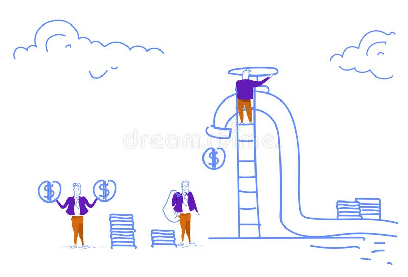 Businessmen climbing ladder unscrew cash crane dollar coins wealth growth concept horizontal sketch doodle. Vector illustration stock illustration