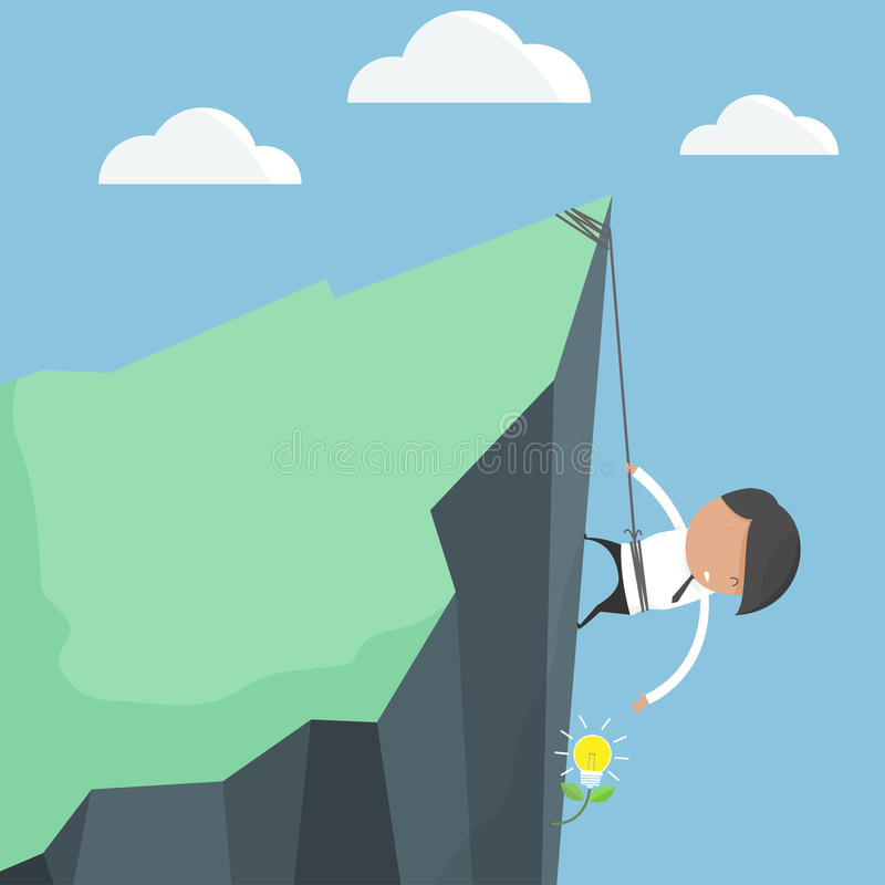 Businessmen climbing. To harvest ideas tree. Concept of difficulty of finding ideas. cartoon concept vector illustration